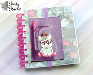 nerdy unicorn planner band pencil pocket in the hoop embroidery file by spunky stitches