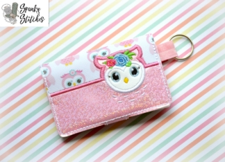 owl mini zipper wallet key fob by spunky stitches
