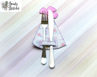 party hat silverware holder in the hoop embroidery file by spunky stitches