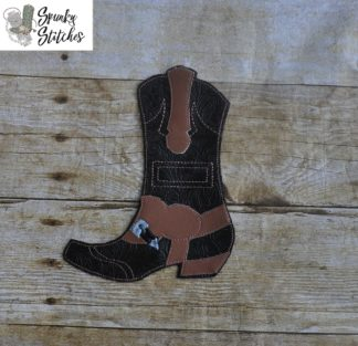 boot silverware holder in the hoop embroidery file by spunky stitches