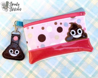 Poo zipper bag in the hoop embroidery file by spunky stitches