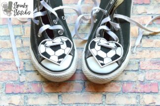 soccer shoe tags in the hoop embroidery file by spunky stitches