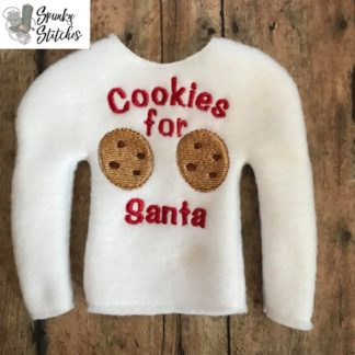 Cookies for Santa Elf shirt in the hoop embroidery file by Spunky Stitches