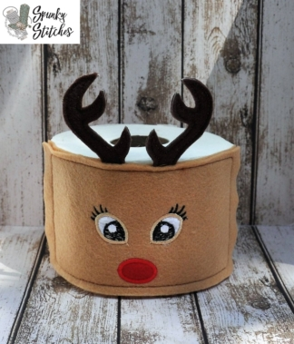 Reindeer Toilet Paper Wrap in the hoop embroidery file by spunky stitches