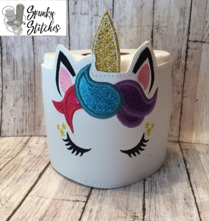 Unicorn Toilet Paper Wrap in the hoop embroidery file by spunky stitches