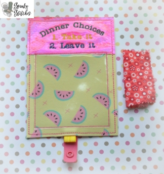 Dinner Choices Fridge Note in the hoop embroidery file by spunky stitches