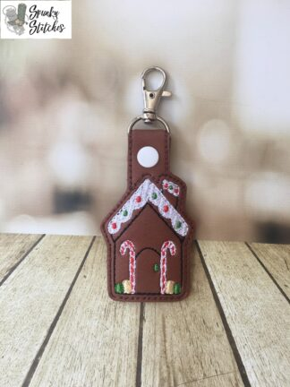 Gingerbread House Key Fob in the hoop embroidery file by spunky stitches