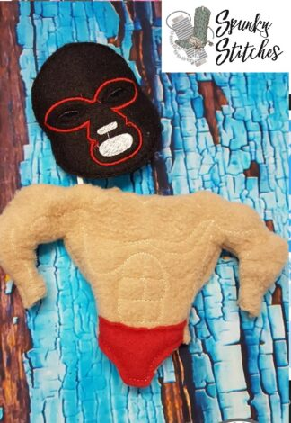 wrestler elf costume in the hoop embroidery file by spunky stitches.