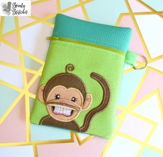 Monkey Flap Zipper Bag in the hoop embroidery file by Spunky stitches