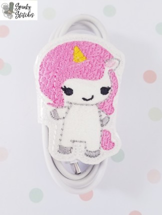 unicorn girl cord wrap in the hoop embroidery file by Spunky stitches