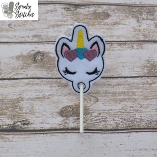 Unicorn Sucker holder in the hoop embroidery file by Spunky Stitches.