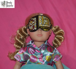 18in doll sleep mask in the hoop embroidery file by Spunky stitches