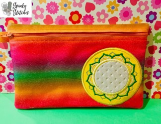 Flower zipper bag in the hoop embroidery file by Spunky stitches
