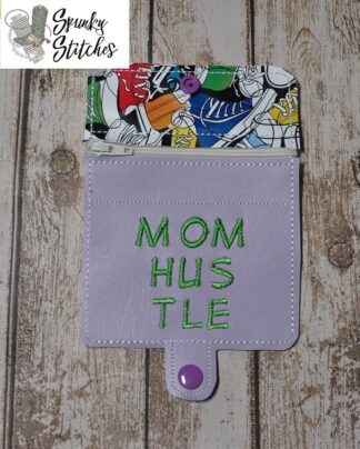 Mom Hustle mini zipper wallet Key Fob in the hoop embroidery file by Spunky stitches