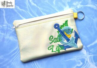 Salt Life Zipper Bag in the hoop embroidery file by Spunky stitches