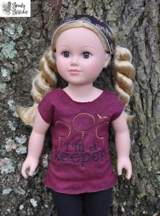 18in keeper shirt in the hoop embroidery file by Spunky stitches